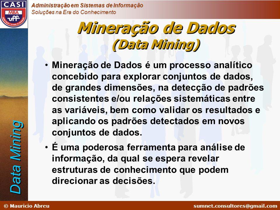 sumnet@microlink.com.br © Mauricio Abreusumnet.consultores@gmail.com Administração em Sistemas de Informação Soluções na Era do Conhecimento •Mineraçã