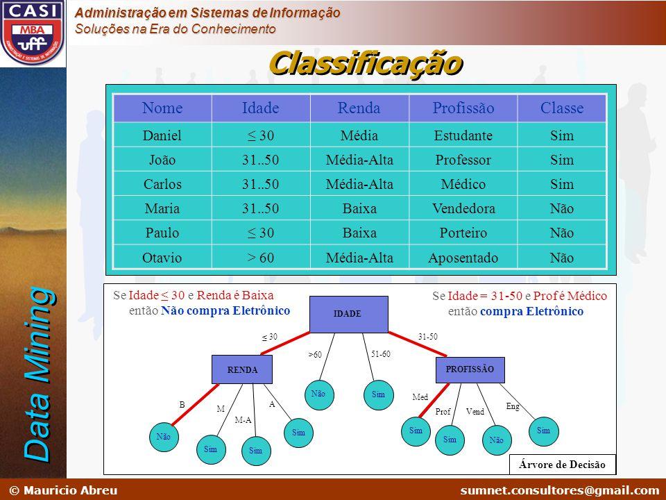 sumnet@microlink.com.br © Mauricio Abreusumnet.consultores@gmail.com Administração em Sistemas de Informação Soluções na Era do Conhecimento NomeIdade