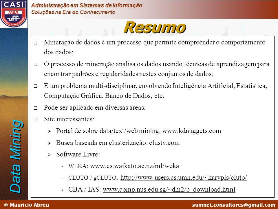 sumnet@microlink.com.br © Mauricio Abreusumnet.consultores@gmail.com Administração em Sistemas de Informação Soluções na Era do Conhecimento  Mineraç