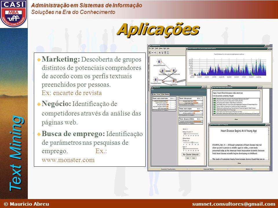 sumnet@microlink.com.br © Mauricio Abreusumnet.consultores@gmail.com Administração em Sistemas de Informação Soluções na Era do Conhecimento Aplicaçõe