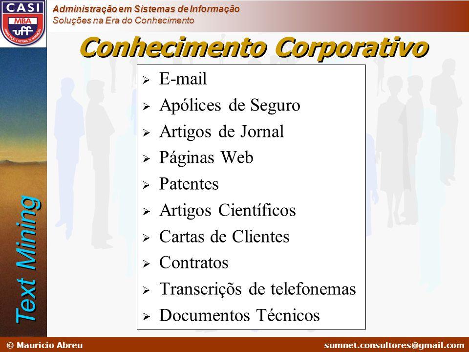 sumnet@microlink.com.br © Mauricio Abreusumnet.consultores@gmail.com Administração em Sistemas de Informação Soluções na Era do Conhecimento  E-mail