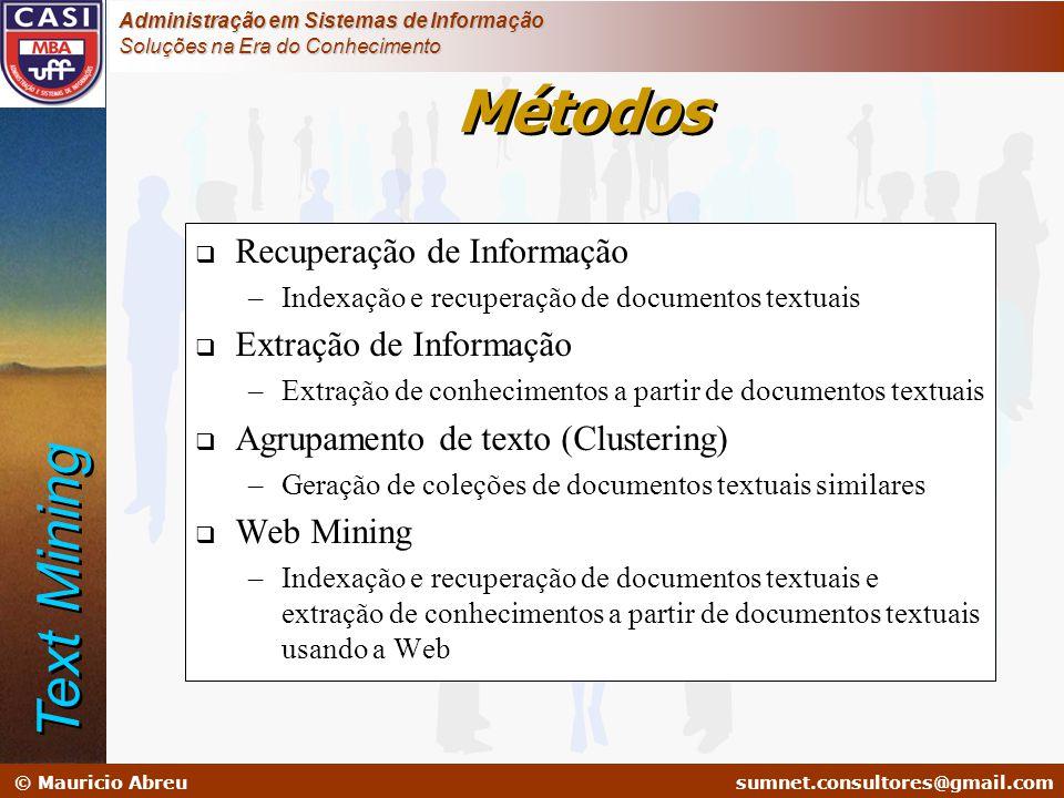 sumnet@microlink.com.br © Mauricio Abreusumnet.consultores@gmail.com Administração em Sistemas de Informação Soluções na Era do Conhecimento  Recuper