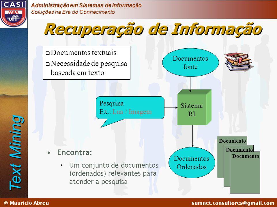 sumnet@microlink.com.br © Mauricio Abreusumnet.consultores@gmail.com Administração em Sistemas de Informação Soluções na Era do Conhecimento  Documen