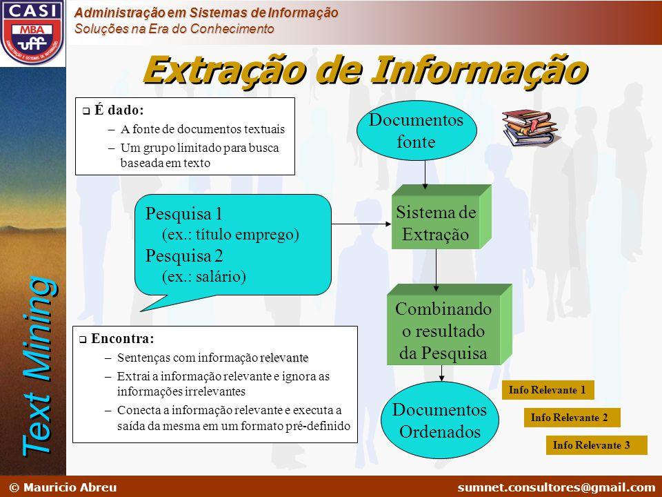 sumnet@microlink.com.br © Mauricio Abreusumnet.consultores@gmail.com Administração em Sistemas de Informação Soluções na Era do Conhecimento Sistema d