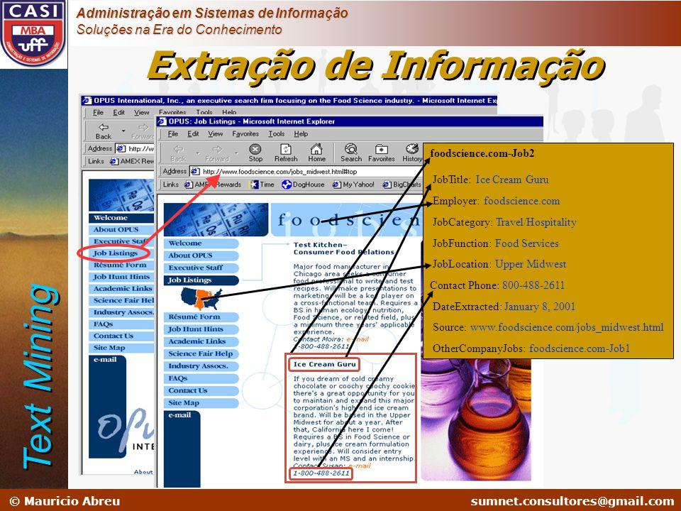 sumnet@microlink.com.br © Mauricio Abreusumnet.consultores@gmail.com Administração em Sistemas de Informação Soluções na Era do Conhecimento foodscien