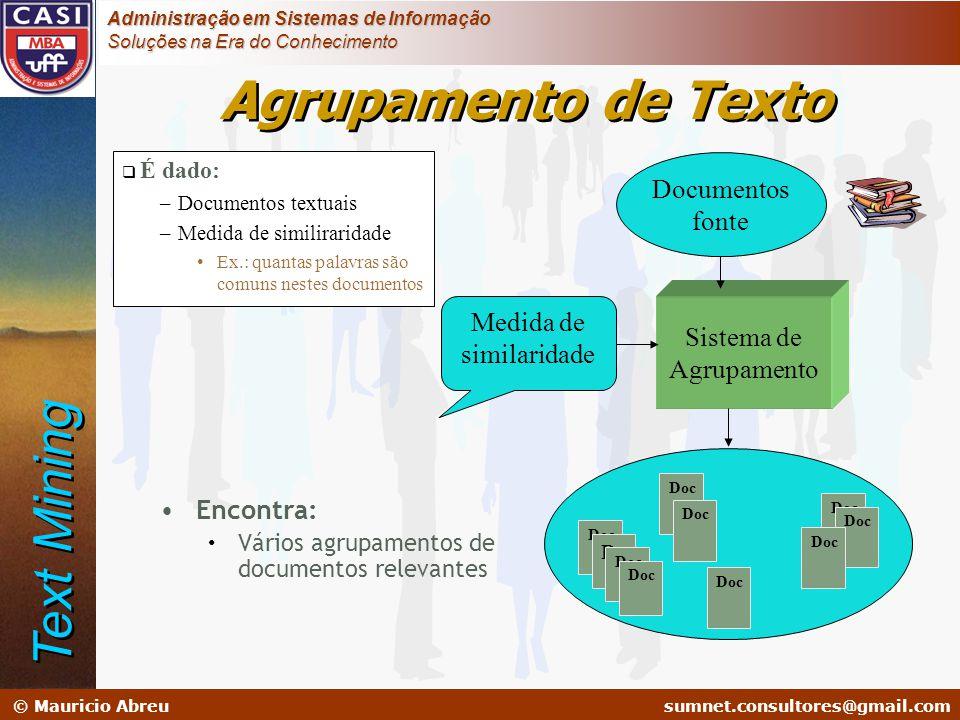 sumnet@microlink.com.br © Mauricio Abreusumnet.consultores@gmail.com Administração em Sistemas de Informação Soluções na Era do Conhecimento  É dado: