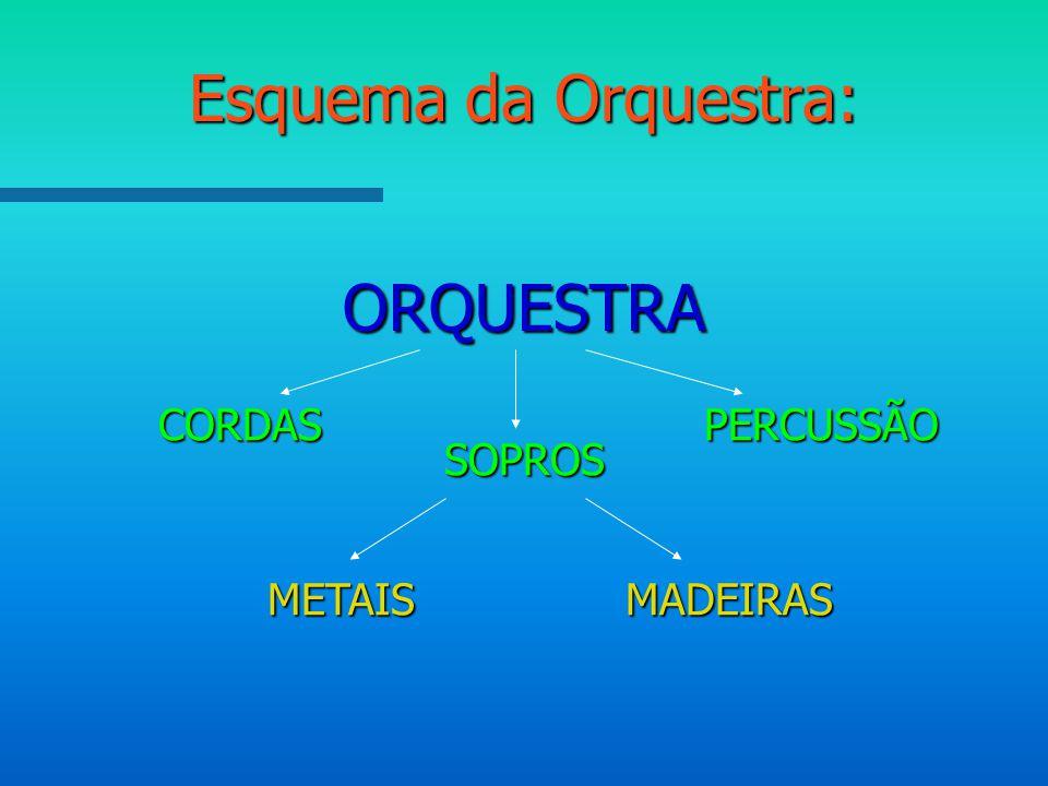 Esquema da Orquestra: CORDAS SOPROS ORQUESTRA PERCUSSÃO METAISMADEIRAS