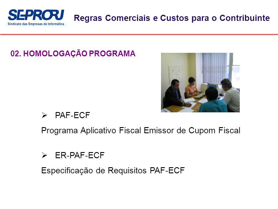 02. HOMOLOGAÇÃO PROGRAMA Regras Comerciais e Custos para o Contribuinte  PAF-ECF Programa Aplicativo Fiscal Emissor de Cupom Fiscal  ER-PAF-ECF Espe