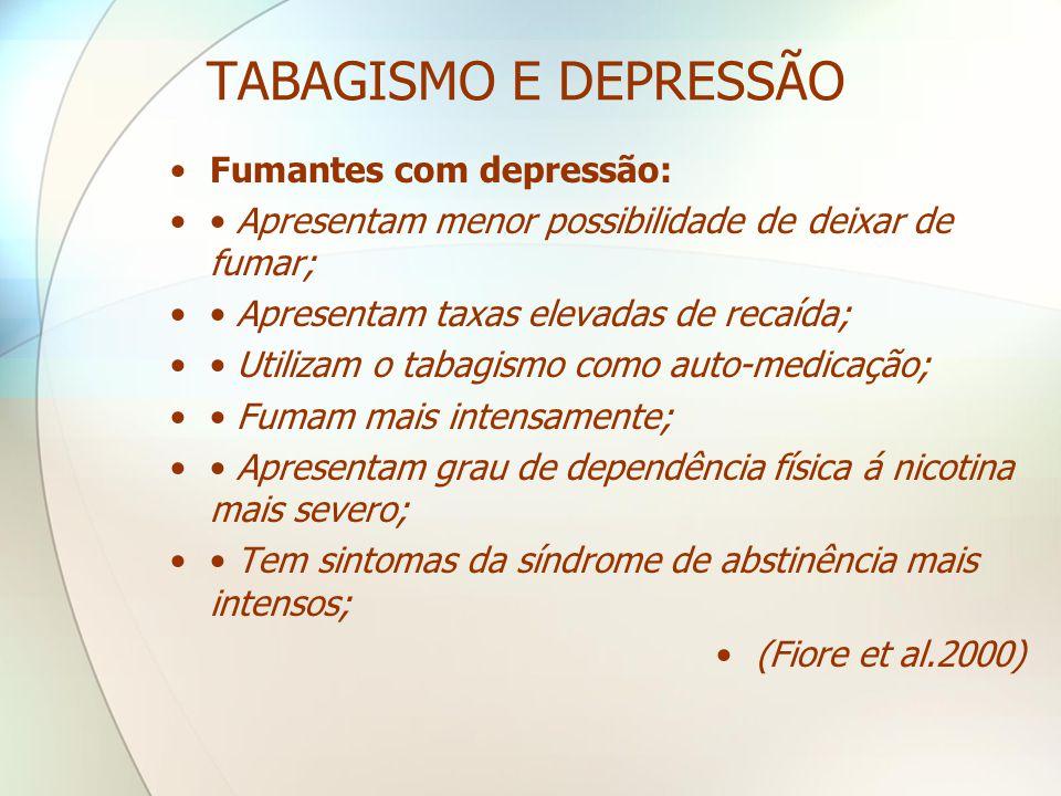 TABAGISMO E DEPRESSÃO •Fumantes com depressão: •• Apresentam menor possibilidade de deixar de fumar; •• Apresentam taxas elevadas de recaída; •• Utili