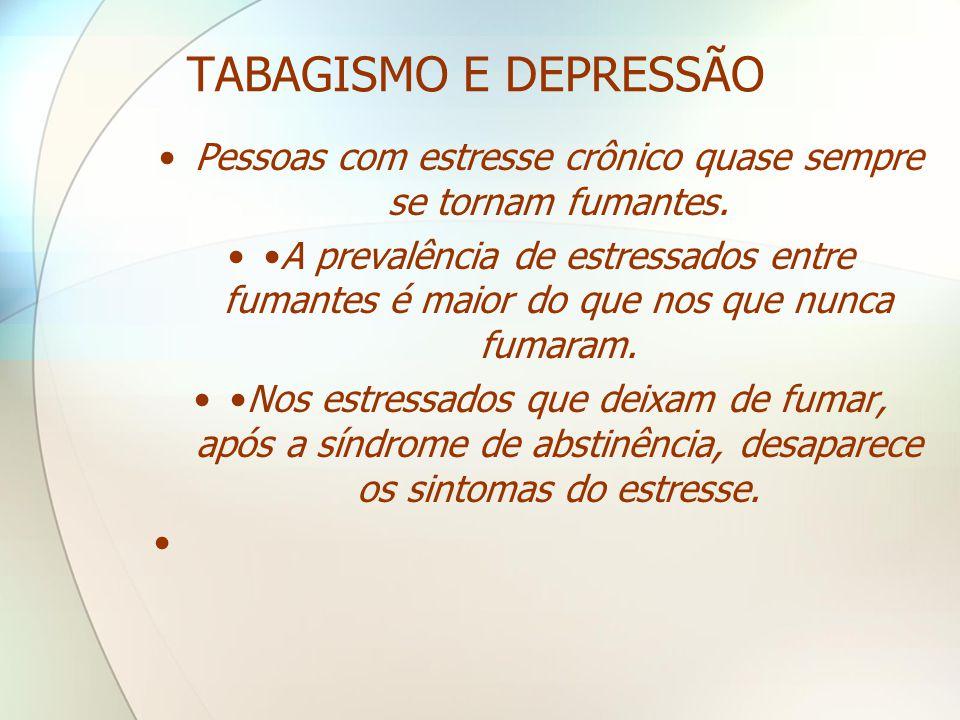 TABAGISMO E DEPRESSÃO •Pessoas com estresse crônico quase sempre se tornam fumantes. ••A prevalência de estressados entre fumantes é maior do que nos