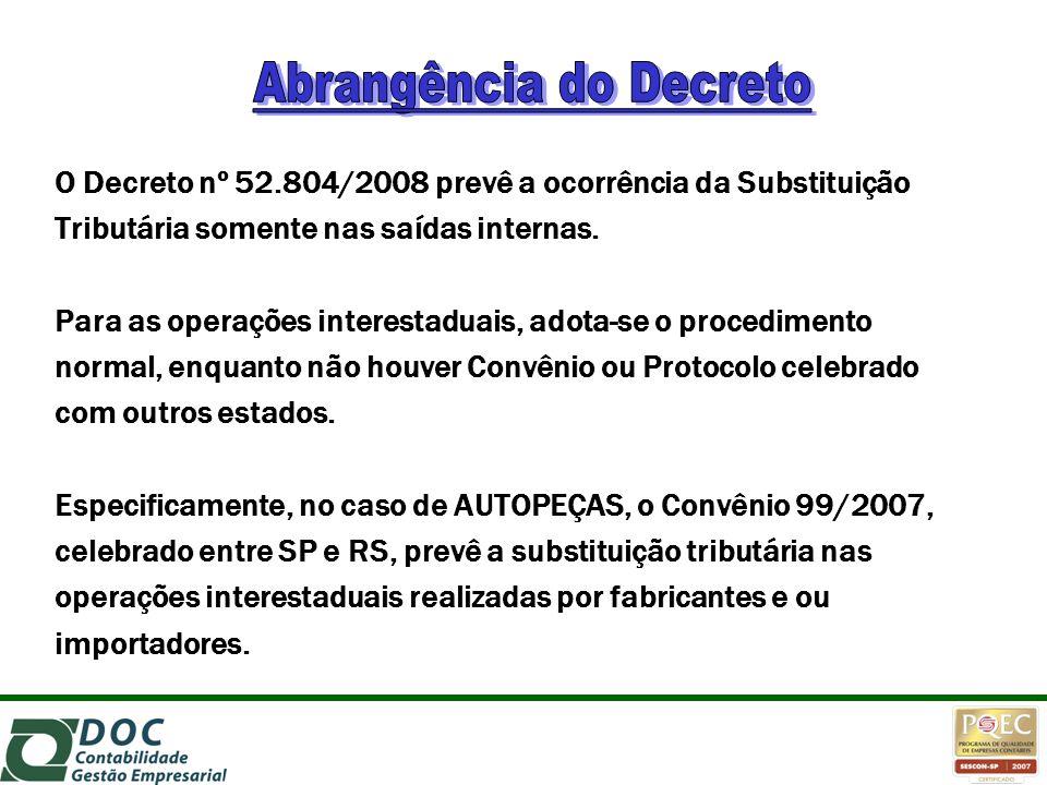 O Decreto nº 52.804/2008 prevê a ocorrência da Substituição Tributária somente nas saídas internas. Para as operações interestaduais, adota-se o proce