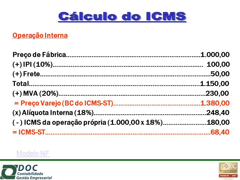 Operação Interna Preço de Fábrica………………………………………………………………..1.000,00 (+) IPI (10%)…………………………………………………………………….…. 100,00 (+) Frete……………………………………………………………