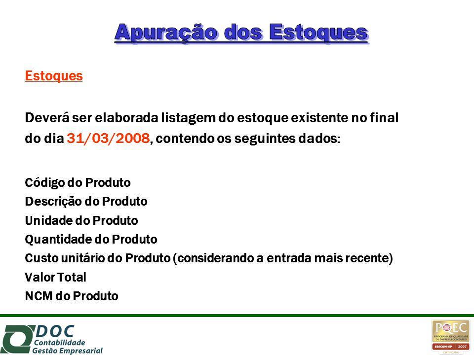 Estoques Deverá ser elaborada listagem do estoque existente no final do dia 31/03/2008, contendo os seguintes dados: Código do Produto Descrição do Pr