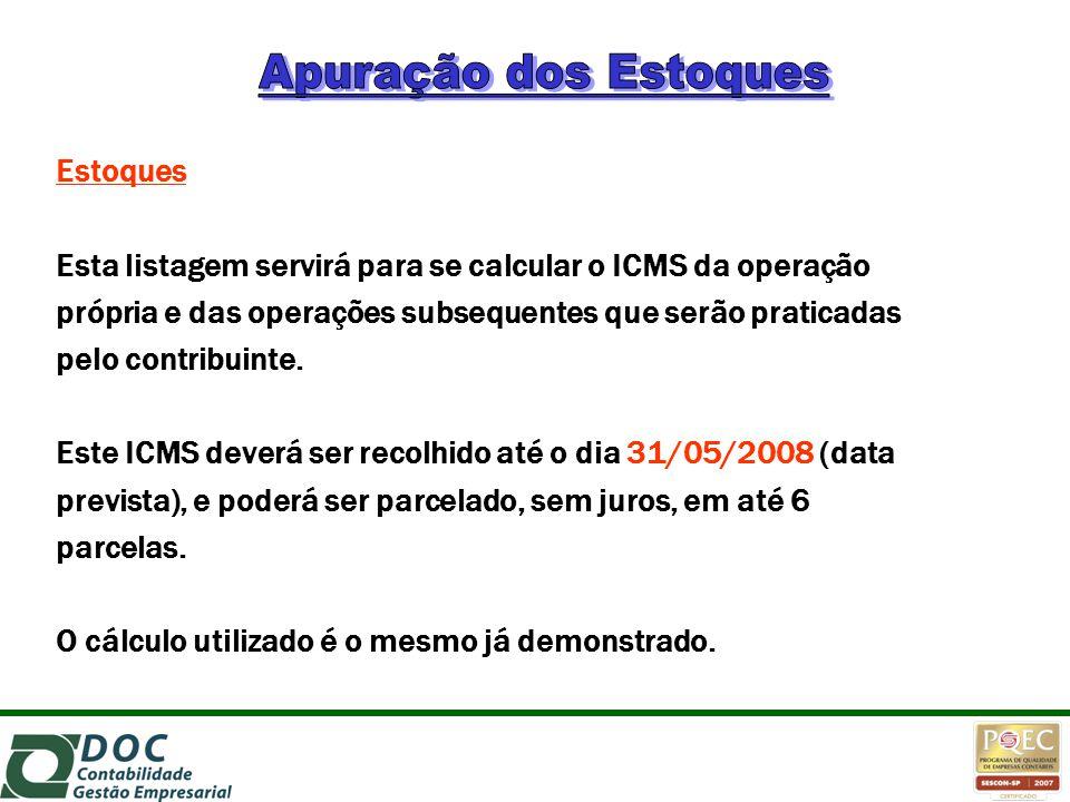Estoques Esta listagem servirá para se calcular o ICMS da operação própria e das operações subsequentes que serão praticadas pelo contribuinte. Este I