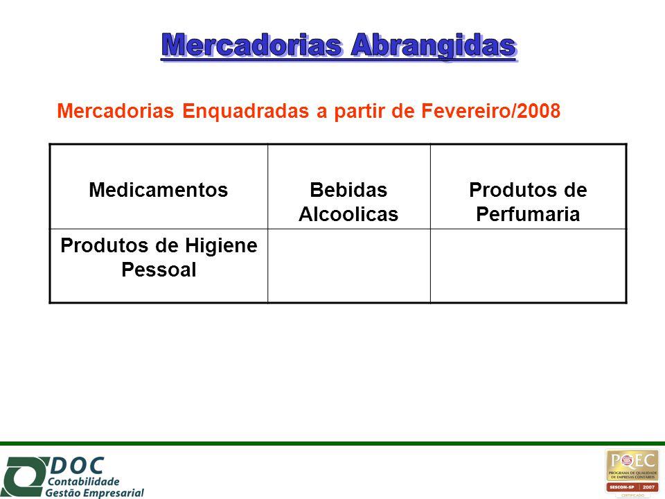 MedicamentosBebidas Alcoolicas Produtos de Perfumaria Produtos de Higiene Pessoal Mercadorias Enquadradas a partir de Fevereiro/2008