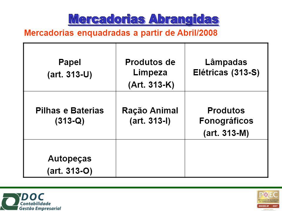 Papel (art. 313-U) Produtos de Limpeza (Art. 313-K) Lâmpadas Elétricas (313-S) Pilhas e Baterias (313-Q) Ração Animal (art. 313-I) Produtos Fonográfic