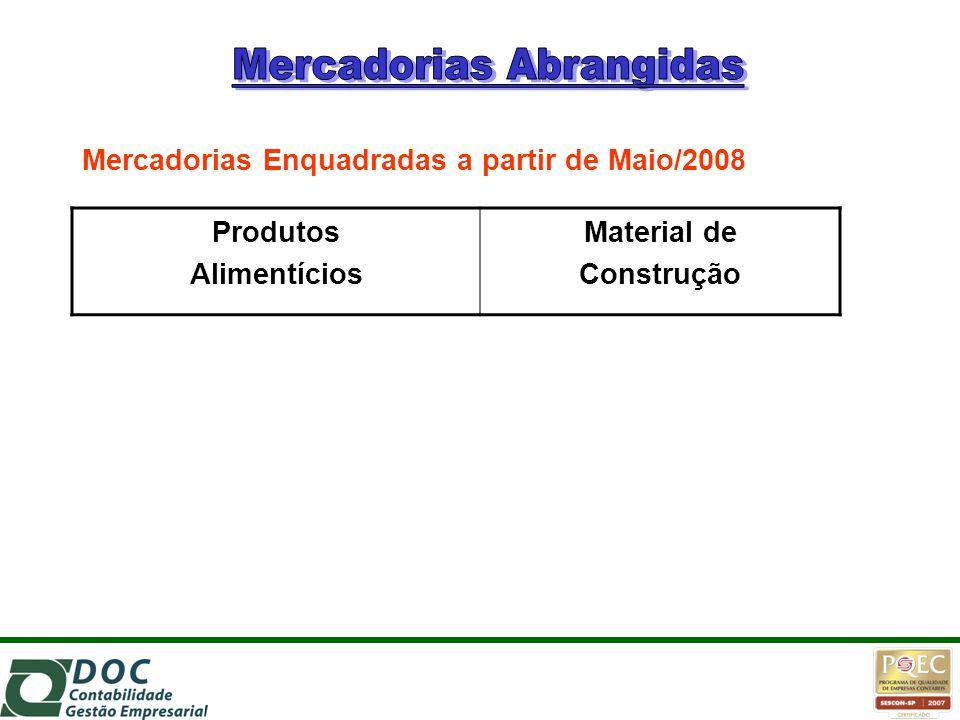Produtos Alimentícios Material de Construção Mercadorias Enquadradas a partir de Maio/2008