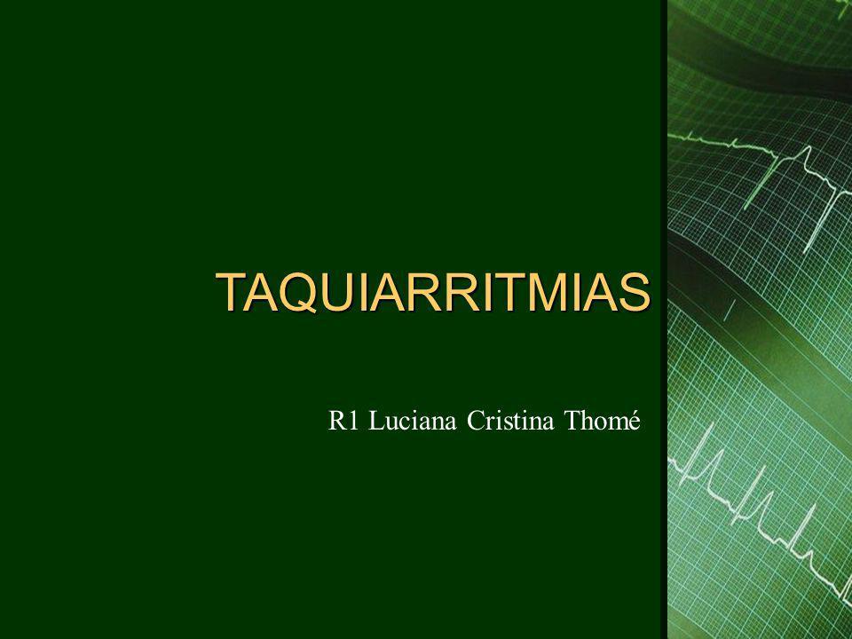 Taquiarritmias  Flutter atrial: – Freqüência: 250-350bpm, ondas F( dente de serra) – Mecanismo: macro-reentrada – Típico: átrio D, antihorário ( ondas F negativas em D2, D3 e AVF) – Típico reverso: átrio D, horário ( ondas F positivas em D2, D3 e AVF) – Atípico: não passa pelo istmo – Sintomas: fadiga, piora da ICC, dispnéia – Tratamento: cardioversão, controle da FC, cardioversão eletiva (ibutilida), ablação