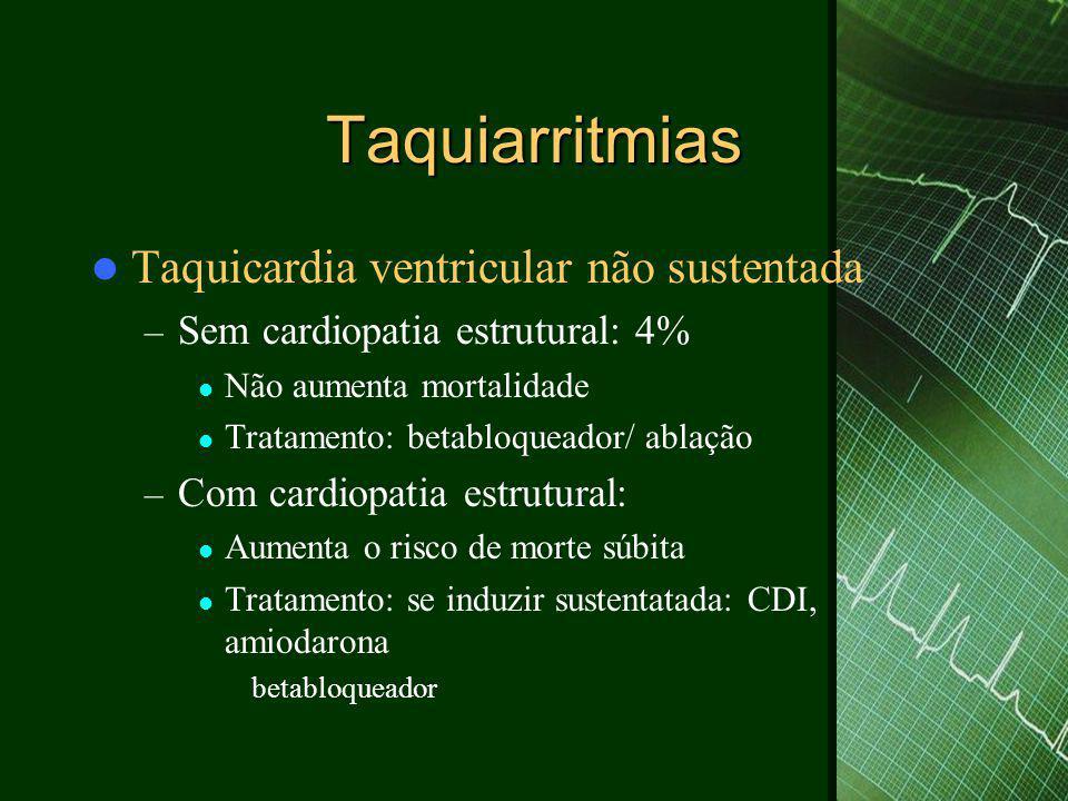 Taquiarritmias  Taquicardia ventricular não sustentada – Sem cardiopatia estrutural: 4%  Não aumenta mortalidade  Tratamento: betabloqueador/ ablaç