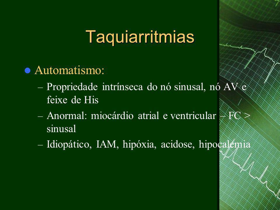 Taquiarritmias  Taquicardia por reentrada nodal – 2/3 das TSV – Freqüência: 150-230bpm – 2 vias :lenta e rápida – Forma típica: desce pela via lenta e retorna pela via rápida 85%- onda P'negativa no final do QRS – Forma atípica: desce pela via rápida e e retorna pela via lenta – onda P'negativas antes do QRS em D3 e AVF – Sintomas: fadiga, dispnéia, palpitação, síncope – Tratamento: adenosina, betabloqueadores e canal de cálcio, ablação da via lenta