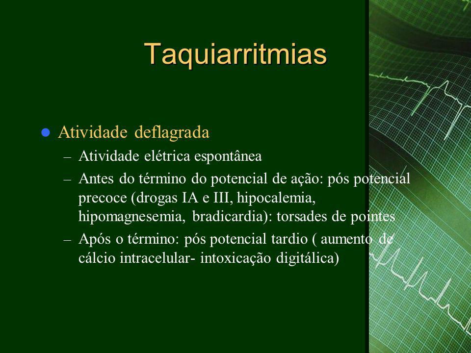 Taquiarritmias  Taquicardia monomórfica sustentada – Reentrada no miocárdio ventricular – Causa mais comum doença coronária – Mais sintomática que a TSV – Pós IAM, valvopatias, cardiomiopatia dilatada, displasia arritmogênica do VD, idiopática, catecolamina-dependente) – Terapia aguda: cardioversão + antiarrítmico ( amiodarona, procainamida, sotalol) – Terapia crônica