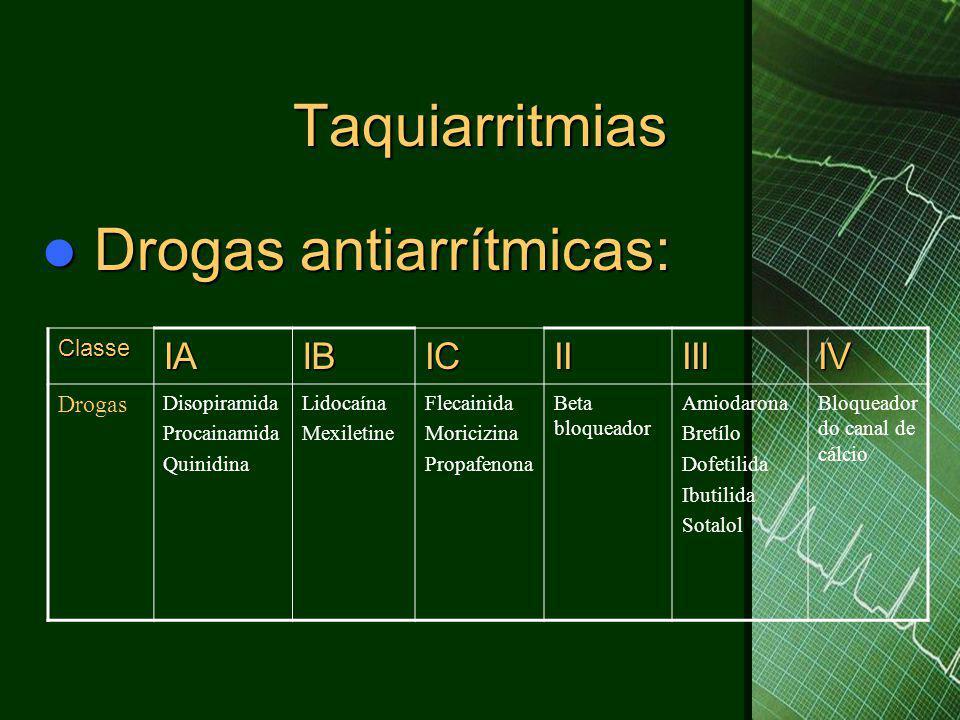 Taquiarritmias  Drogas antiarrítmicas: ClasseIAIBICIIIIIIV Drogas Disopiramida Procainamida Quinidina Lidocaína Mexiletine Flecainida Moricizina Prop