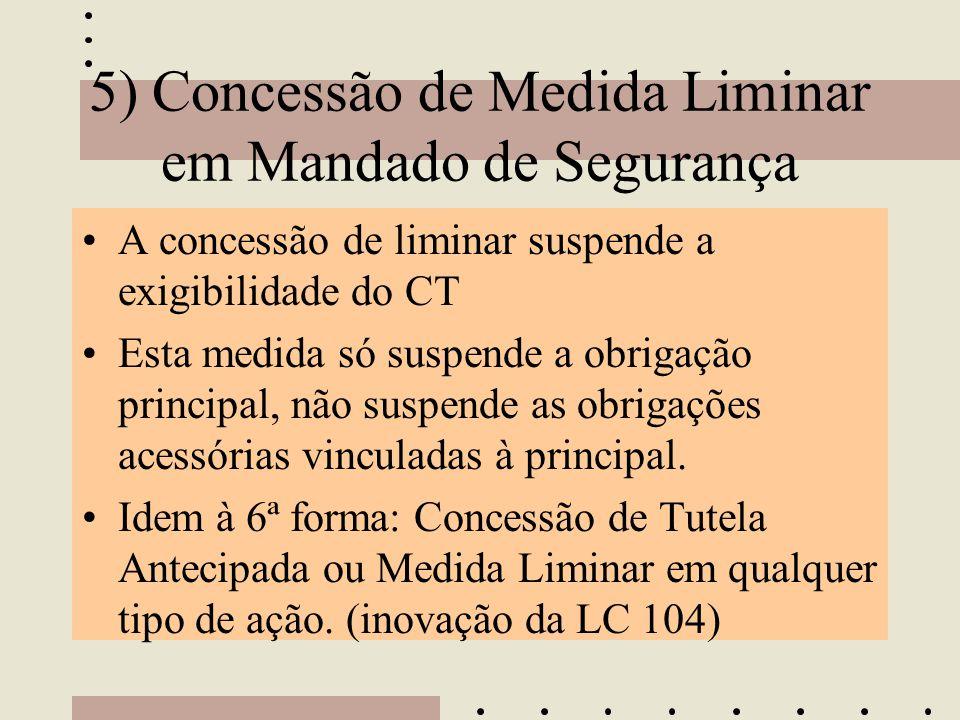 5) Concessão de Medida Liminar em Mandado de Segurança •A concessão de liminar suspende a exigibilidade do CT •Esta medida só suspende a obrigação pri