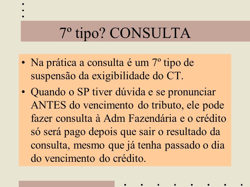 7º tipo? CONSULTA •Na prática a consulta é um 7º tipo de suspensão da exigibilidade do CT. •Quando o SP tiver dúvida e se pronunciar ANTES do vencimen