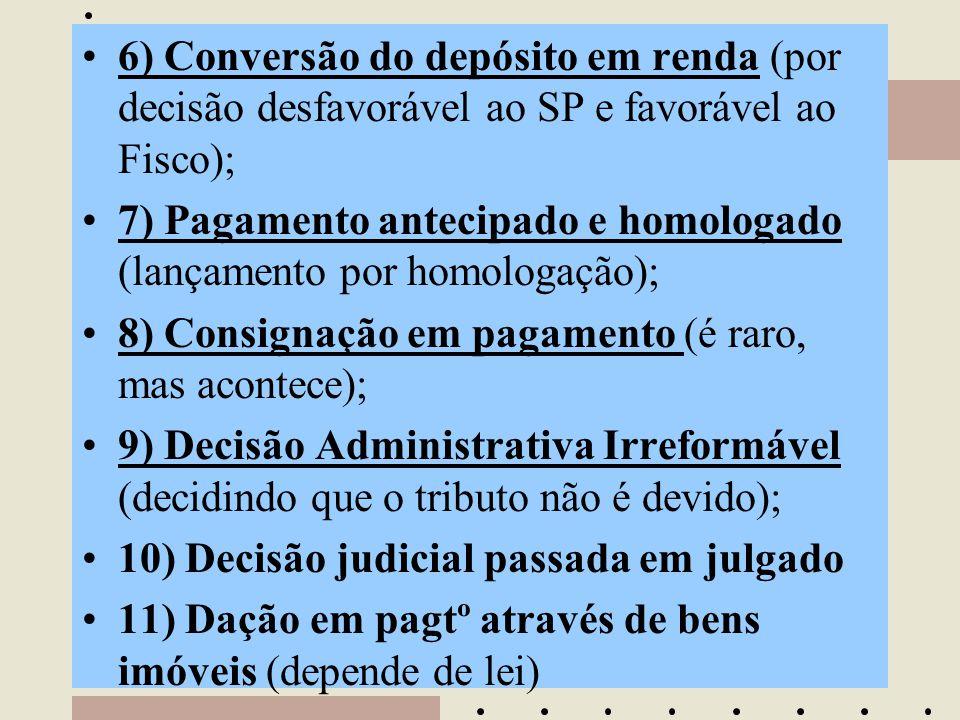 •6) Conversão do depósito em renda (por decisão desfavorável ao SP e favorável ao Fisco); •7) Pagamento antecipado e homologado (lançamento por homolo