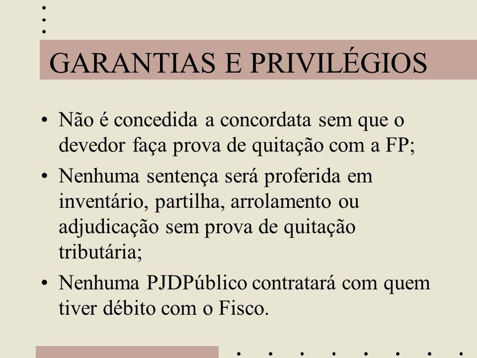 GARANTIAS E PRIVILÉGIOS •Não é concedida a concordata sem que o devedor faça prova de quitação com a FP; •Nenhuma sentença será proferida em inventári