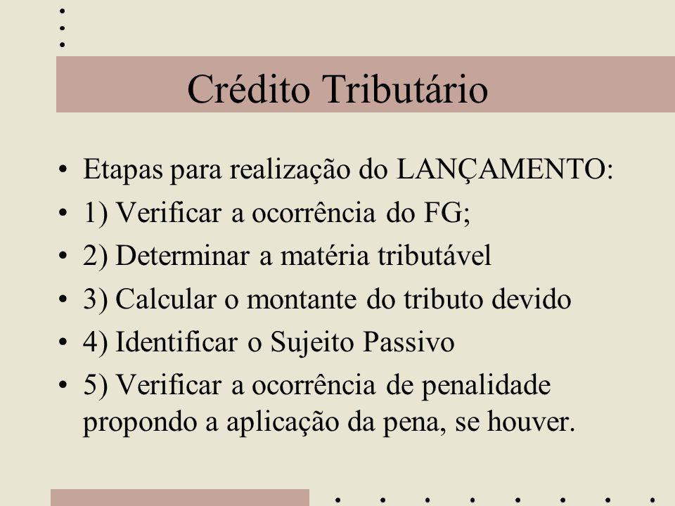Crédito Tributário •Etapas para realização do LANÇAMENTO: •1) Verificar a ocorrência do FG; •2) Determinar a matéria tributável •3) Calcular o montant
