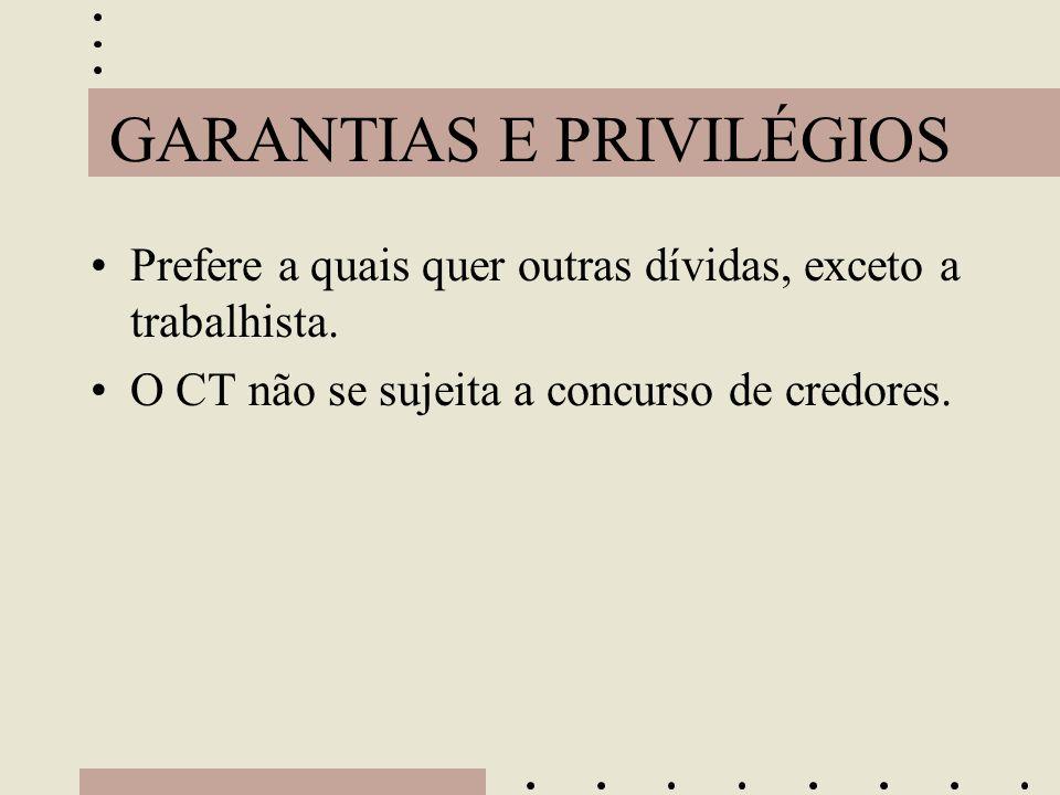 GARANTIAS E PRIVILÉGIOS •Prefere a quais quer outras dívidas, exceto a trabalhista. •O CT não se sujeita a concurso de credores.