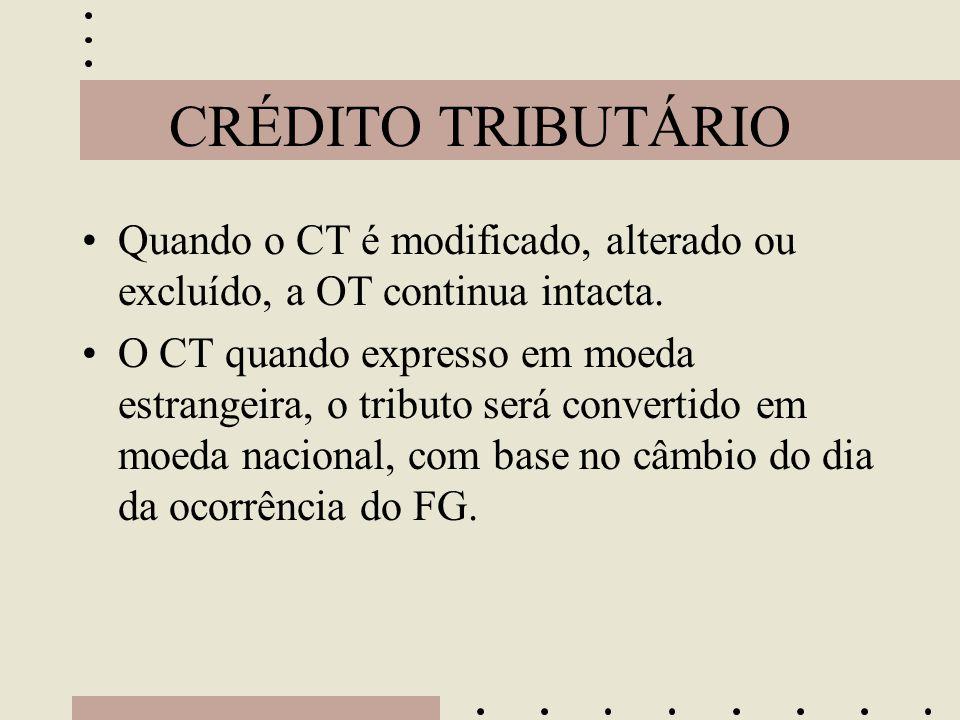 CRÉDITO TRIBUTÁRIO •Quando o CT é modificado, alterado ou excluído, a OT continua intacta. •O CT quando expresso em moeda estrangeira, o tributo será