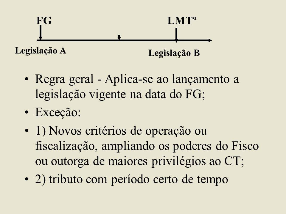 •Regra geral - Aplica-se ao lançamento a legislação vigente na data do FG; •Exceção: •1) Novos critérios de operação ou fiscalização, ampliando os pod