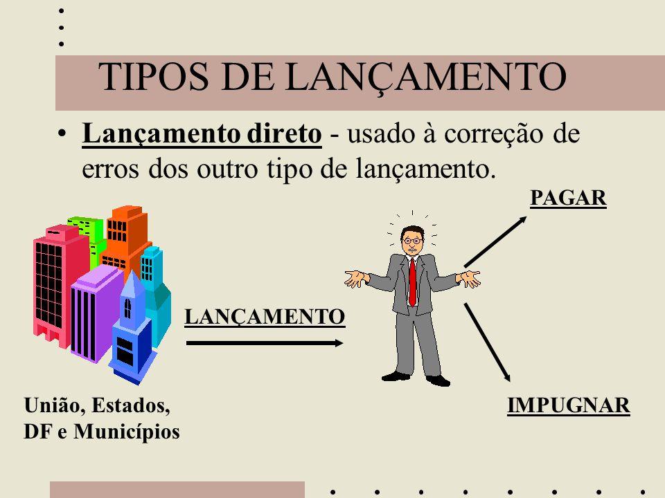 TIPOS DE LANÇAMENTO •Lançamento direto - usado à correção de erros dos outro tipo de lançamento. União, Estados, DF e Municípios LANÇAMENTO PAGAR IMPU