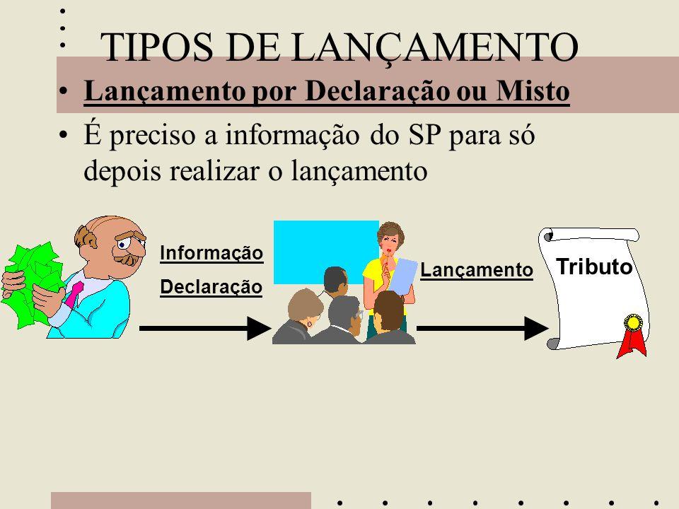 TIPOS DE LANÇAMENTO •Lançamento por Declaração ou Misto •É preciso a informação do SP para só depois realizar o lançamento Tributo Informação Declaraç
