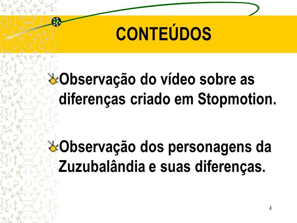 5 METODOLOGIA Elencar uma reflexão sobre as diferenças dos personagens do site Zuzubalândia e do vídeo em stopmotion assistido.