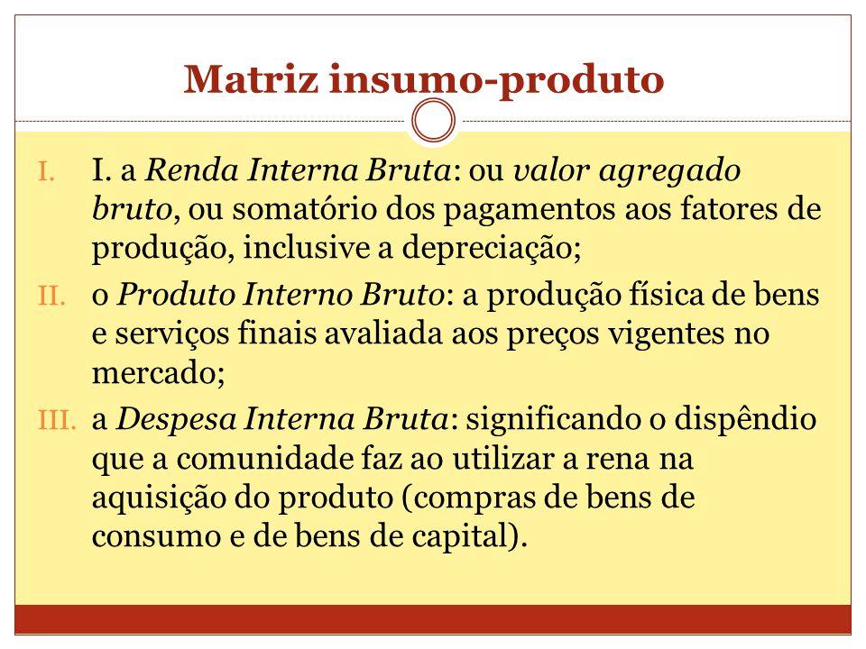 Matriz insumo-produto I. I. a Renda Interna Bruta: ou valor agregado bruto, ou somatório dos pagamentos aos fatores de produção, inclusive a depreciaç