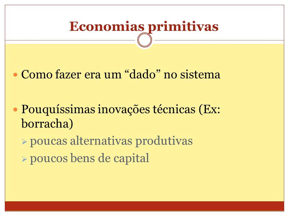 """Economias primitivas  Como fazer era um """"dado"""" no sistema  Pouquíssimas inovações técnicas (Ex: borracha)  poucas alternativas produtivas  poucos"""