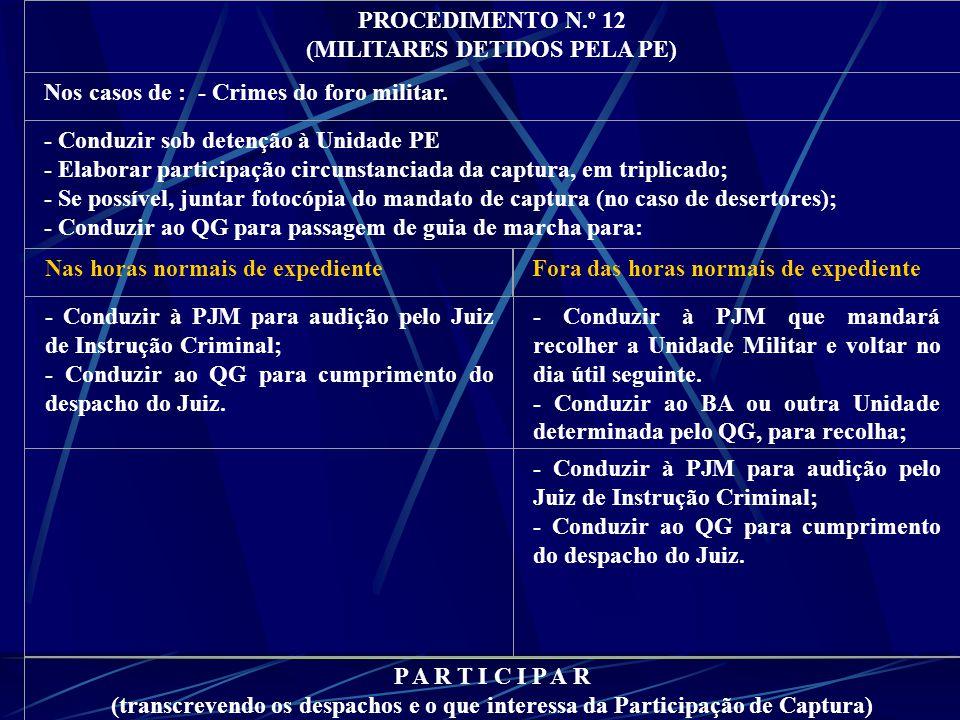 PROCEDIMENTO N.º 12 (MILITARES DETIDOS PELA PE) Nos casos de : - Crimes do foro militar.