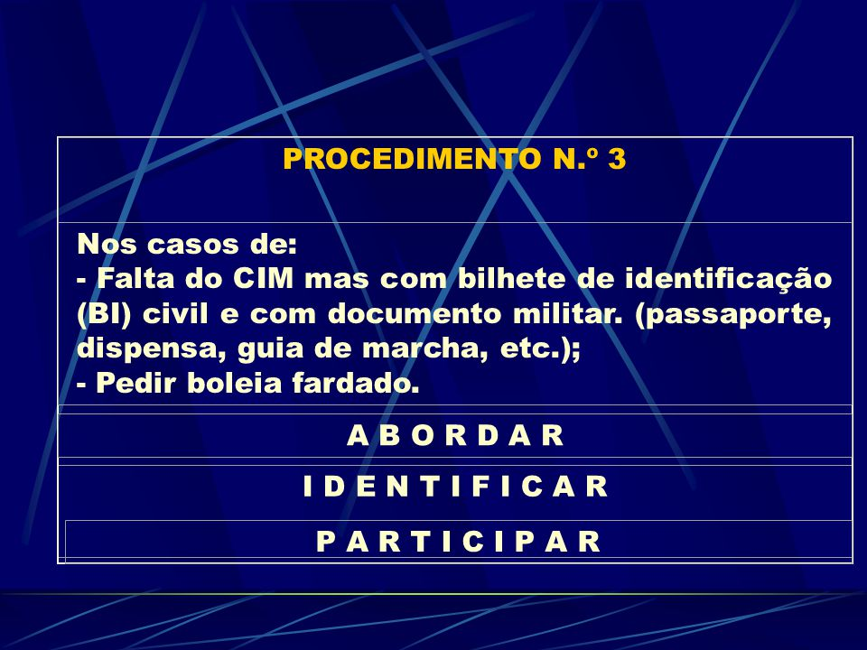 I D E N T I F I C A R PROCEDIMENTO N.º 3 Nos casos de: - Falta do CIM mas com bilhete de identificação (BI) civil e com documento militar.