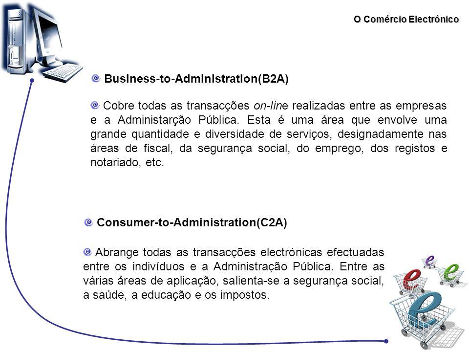 O Comércio Electrónico Consumer-to-Administration(C2A) Business-to-Administration(B2A) Cobre todas as transacções on-line realizadas entre as empresas