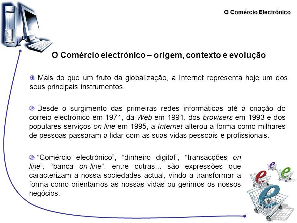 O Comércio Electrónico A DIRECTIVA 2000/31/CE Objectivos: Visa, acima de tudo, a criação de um quadro geral claro que permita garantir a segurança jurídica e a confiança dos consumidores, abrangendo os aspectos legais do comércio electrónico mais relevantes no âmbito do mercado interno.