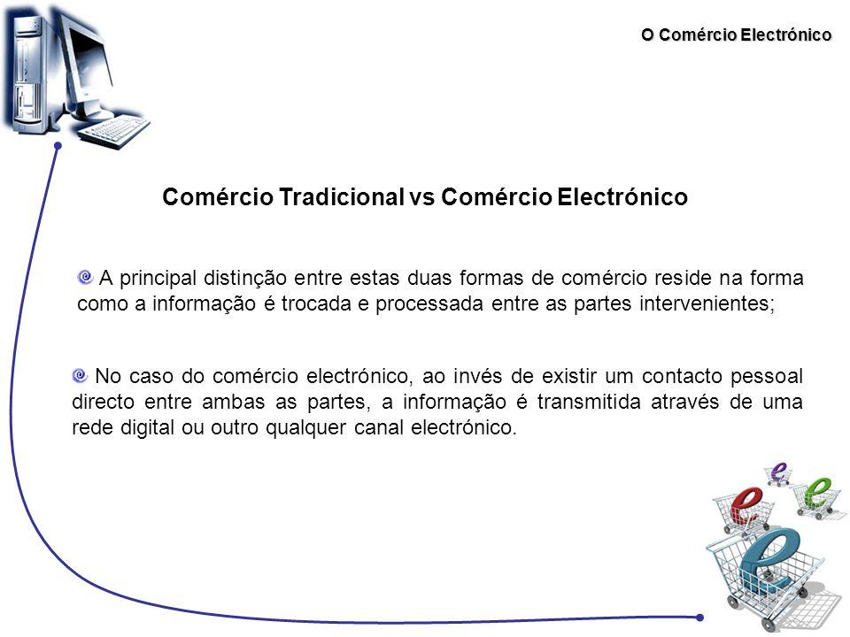 O Comércio Electrónico Comércio Tradicional vs Comércio Electrónico No caso do comércio electrónico, ao invés de existir um contacto pessoal directo e