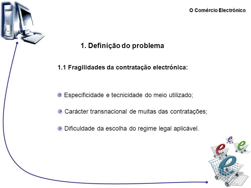 O Comércio Electrónico 1. Definição do problema 1.1 Fragilidades da contratação electrónica: Especificidade e tecnicidade do meio utilizado; Carácter