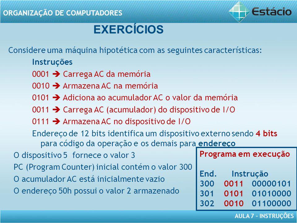 AULA 7 – INSTRUÇÕES ORGANIZAÇÃO DE COMPUTADORES Considere uma máquina hipotética com as seguintes características: Instruções 0001  Carrega AC da mem