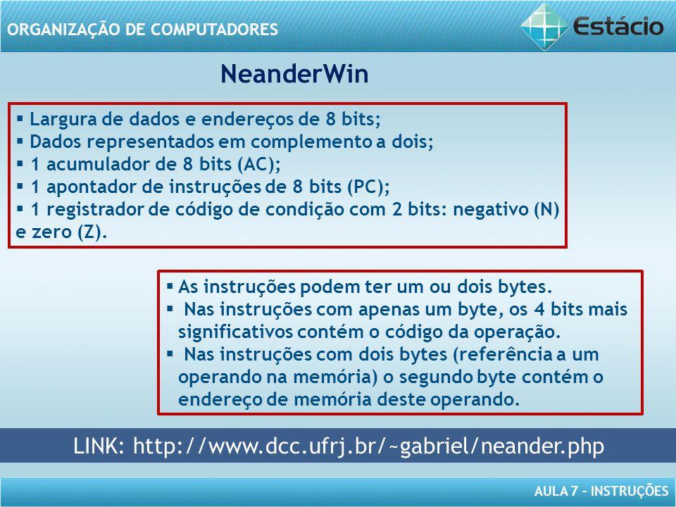 AULA 7 – INSTRUÇÕES ORGANIZAÇÃO DE COMPUTADORES NeanderWin LINK: http://www.dcc.ufrj.br/~gabriel/neander.php  As instruções podem ter um ou dois byte