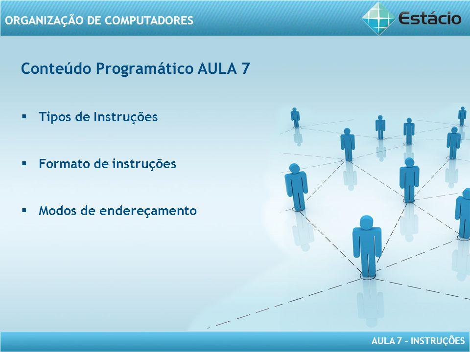 AULA 7 – INSTRUÇÕES ORGANIZAÇÃO DE COMPUTADORES Conteúdo Programático AULA 7  Tipos de Instruções  Formato de instruções  Modos de endereçamento