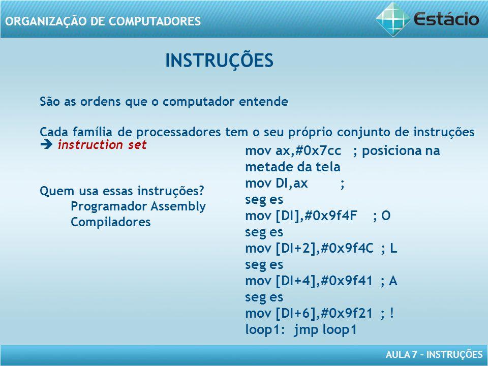 AULA 7 – INSTRUÇÕES ORGANIZAÇÃO DE COMPUTADORES INSTRUÇÕES São as ordens que o computador entende Cada família de processadores tem o seu próprio conj