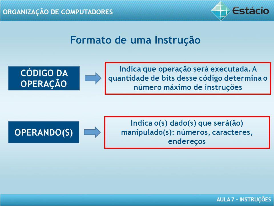 AULA 7 – INSTRUÇÕES ORGANIZAÇÃO DE COMPUTADORES CÓDIGO DA OPERAÇÃO OPERANDO(S) Indica que operação será executada. A quantidade de bits desse código d